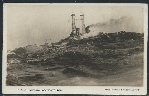 The U.S. Delaware Laboring in Seas, Early Real Photo Picture Postcard, Unused
