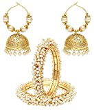 Jewels Galaxy Bridal Collection Royal Bangles Set, Pair Of Traditional Jhumki Earrings - Combo of 2