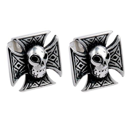 Stainless Steel Biker Stud Earrings with Chopper Cross Design and Skull in Center For Women