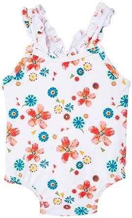 Chicco - Maillot une pièce - Bébé fille - Multicolore (Rose Et Blanc) - FR: 15/18 (Taille fabricant: 15 mois)