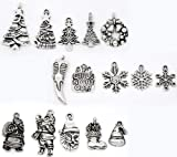 Housweety 30 Mixed Silver Tone Christmas Charms Pendants