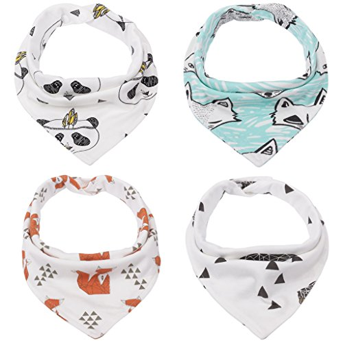 kolamom-baby-bandana-drool-bibs-4-pack-100-cotton-gift-for-boys-with-adjustable-snaps-fox-set