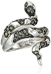 Sterling Silver Black Diamond Crystal Snake Ring, Size 7