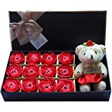 Rosesoap 2015 Hot Sales,12Pcs/Box Romantic Rose Soap Flower With Little Bear, Great For Valentine's Day Gifts/ Wedding Gift/birthday Gifts (red)
