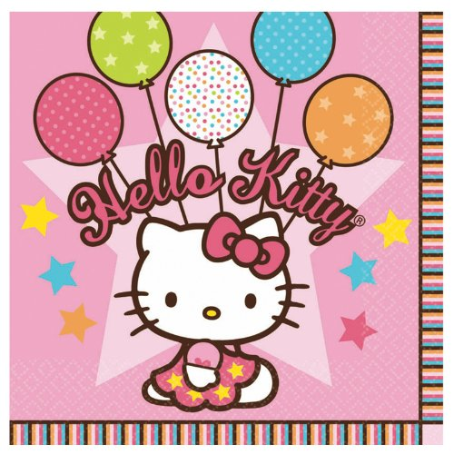 "Amscan Hello Kitty Balloon Dreams 6-1/2"" x 6-1/2"" Luncheon Napkins, 16-Count"