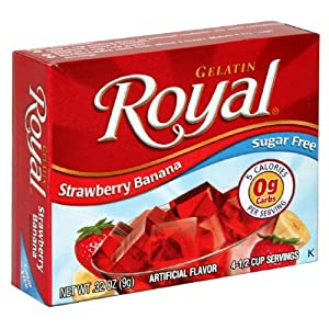 Royal Gelatin Sugar Free 0.32 Oz Strawberry Banana 6 Packs