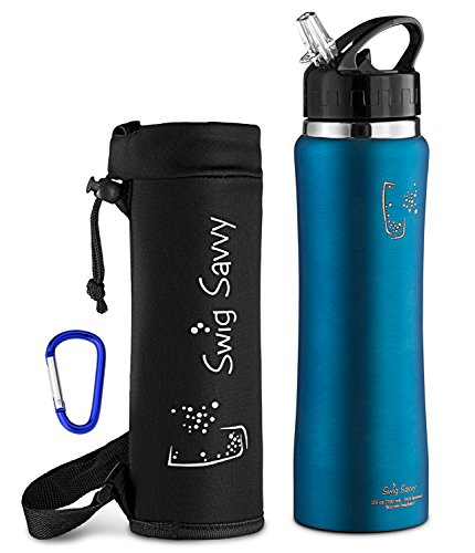 Swig Savvy Sleek and Sporty Double Wall Stainless Steel Water Bottle with Straw Cap , 25oz - Blue - Including Water Bottle Pouch (Water Bottles Straw compare prices)