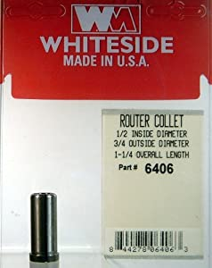 Whiteside Router Bits 6406 Steel Router Collet 1/2-Inch Inside Diameter 3/4-Inch Outside Diameter