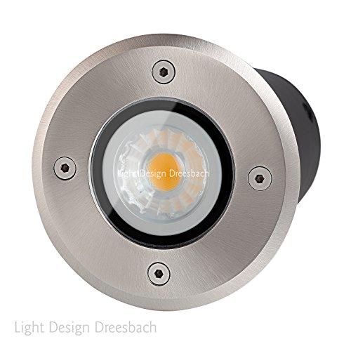 Set Of 10 Floor Recessed Spotlights Underground Lights Round With Led Cob Spot 3 Watt Warm White 2800 Kelvin Gu10 Ip67 Through Wiring