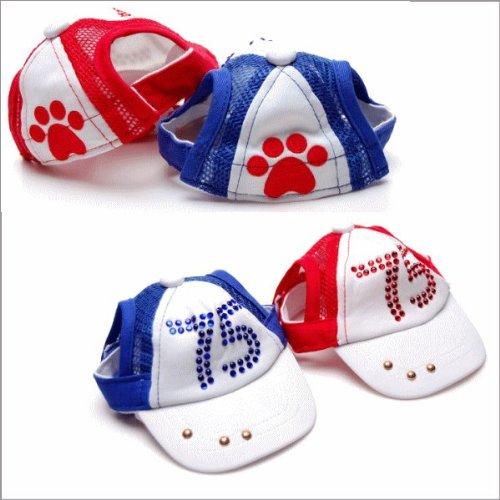 ラインストーン付きいぬ用犬用 ボールキャップ ブルー Lサイズ