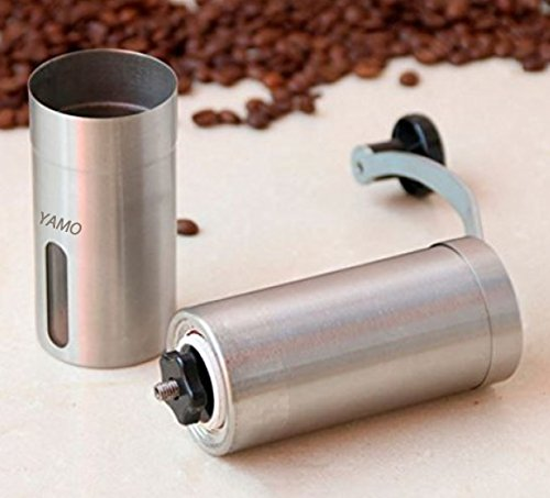YAMO Manual Coffee Grinder - Conical Burr Mill for Precision Brewing - Brushed Stainless Steel