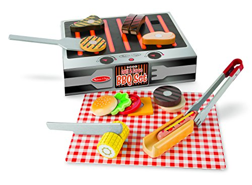 Melissa & Doug Grill and Serve BBQ Set (20 pcs) - Wooden Play Food and Accessories (Play Food For Grill compare prices)