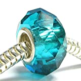 Sterling Silver Birthstone Blue Ziron Crystal European Bead Charm December
