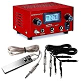 DGT Pro Digital Dual Tattoo Machine Power Supply Kit w/ 2 Clip Cord & Foot Pedal (Color: RED, Tamaño: 5