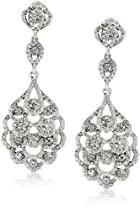 Big Sale Nina 'Eiffel' Antique Silver Crystal Statement Drop Earrings