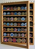 56 Challenge Coin / Poker Chip / Antique Coin Display Case Holder Cabinet - OAK Finish (COIN56-OA)