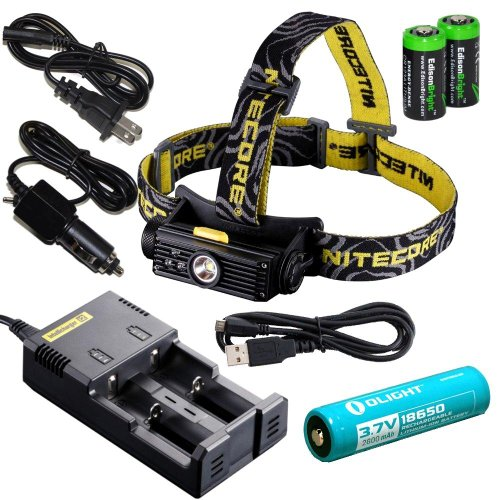 Nitecore Hc90 900 Lumen Cree Xm-L2 T6 Led Usb Rechargeable Headlamp With Genuine Olight 18650 Li-Ion Rechargeable Battery,Nitecore I2 Intelligent Charger, Car Charging Cable And Two Edisonbright Cr123A Lithium Batteries