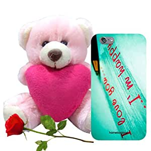 Homesogood Feels Great To Love You Green 3D Mobile Case For iPhone 6 (Back Cover) With Teddy & Red Rose