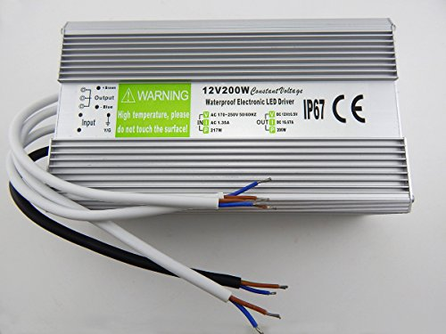 E-Age Ip67 Led Driver Waterproof 200 Watt, Led Driver Power Supply 12 Volt 16.7Amp Dc Output