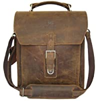 Secuda Vintage Men's Cowhide Leather Shoulder iPad Tablet PC Bag / Case School Bag Messenger Satchel Brown from SECUDA
