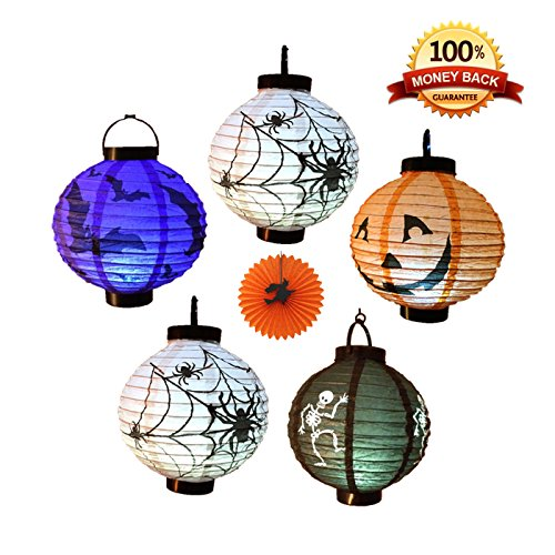 EverKid Halloween Decorations Paper Lanterns with LED Light, pack of 5 - Skeleton,Bats,Jack-O,Spiders (Jacks Big Music Show Toys compare prices)