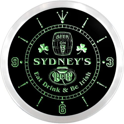 Ncpa0843-G Sydney'S Irish Shamrock Pub Beer Pub Led Neon Sign Wall Clock