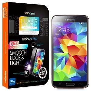 Spigen Protecteur d'écran pour Samsung S5 OLEOPHOBIC COATED [verre tempéré - Glas.t Nano SLIM] - Screen Protector pour Samsung Galaxy S5 / SV / SGS5 (SGP10726)