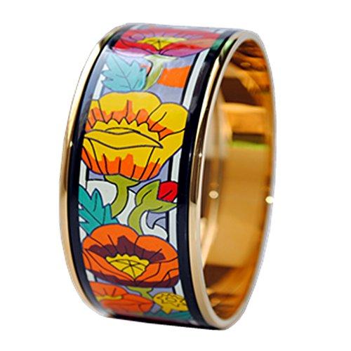 real-enamel-bangle-bracelet-width-30mm-18k-gold-plated-monas-poppy-flower-diameter-68mm