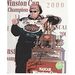 Bobby Labonte Autographed Interstate Batteries (Winston Cup Trophy) 8x10 Photo by PalmBeachAutographs.com