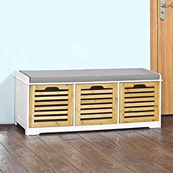 Haotian FSR23-WN, Storage Bench with 3 Crates, Shoe Cabinet Shoe Bench with Soft Seat Cushion