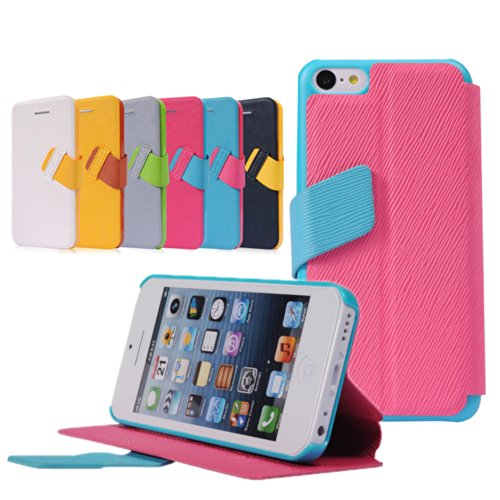 Pioneer Tech® Ultra Thin Flip Folio Stand Cover Faith Premium Pu Leather Case For Iphone 5C (Rose)