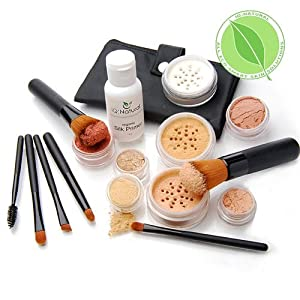 IQ Natural 16pc Pur Bare Mineral Makeup Beauty Kit, Full brush Set and Slik Primer included. Get Started Today!
