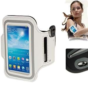 Brassard sport tour de bras blanc pour Samsung Galaxy SIV mini S4 mini / i9190 idéal pour les sportifs, course à pied ou salle de sport avec pochette pour clés