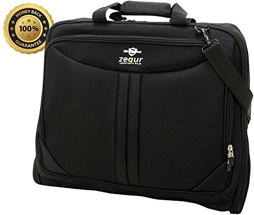 Zegur 40-Inch 3 Suit Carry On Travel Garment Bag With Adjustable Shoulder Strap and Multiple Organizer Pockets - Black (Suits Garment Bag compare prices)