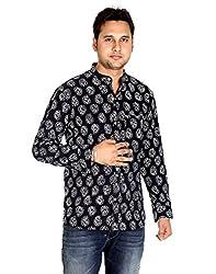 Ethnic Cotton Designer Paisley Black Casual Shirt By Rajrang