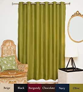Olive Wide Width Antique Brass Grommet Top Thermal Insulated Blackout Curtain 80