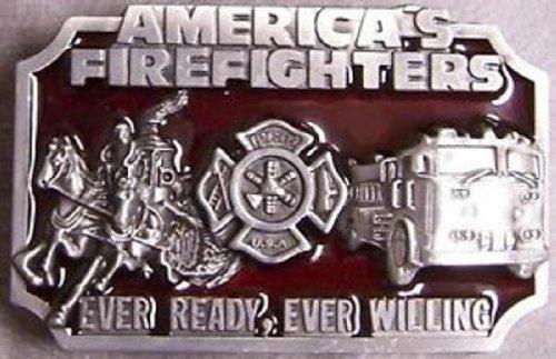 Pewter Belt Buckle Firefighters Modern & Antique Fire Trucks New
