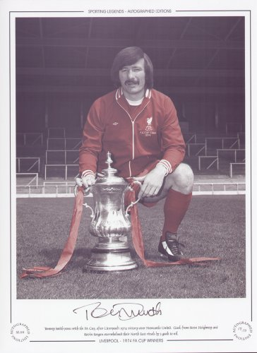 Tommy Smith Liverpool poses with FA Cup 1974 – Signed Limited Edition