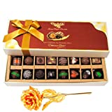 Sweet Surprises Of Dark And Milk Chocolates With 24k Gold Plated Rose - Chocholik Belgium Chocolates