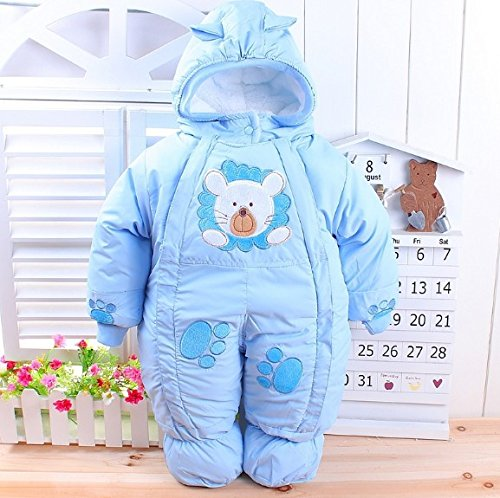The Best Quality Girl Boy Newborn Baby Winter Wadded Jacket Cotton-Padded Jacket Infant Year Old Autumn And Winter Child Romper (10-12Months, Sky Blue)