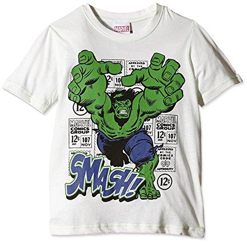 MARVEL - Hulk Smash - Kids, T-shirt Bambino, Multicolore (white/green), 3-4 anni (Taglia Produttore: X-Small)
