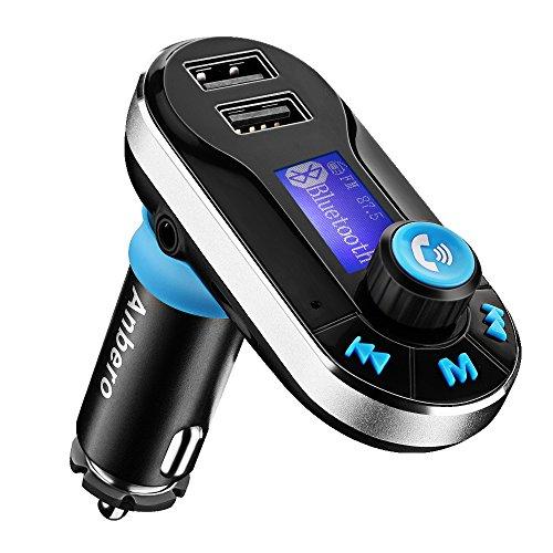 Anbero-Bluetooth-KFZ-Auto-FM-Transmitter-Radio-Adapter-MP3-Player-mit-35mm-Aux-Eingang-und-zwei-USB-Ports-LadeMicro-SD-Kartenslot