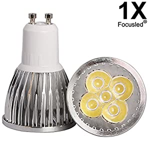 GU10 6W LED Dimmable Warm White High Power Energy Saving Bulb Bright at 500-530 Lumens by Focusled