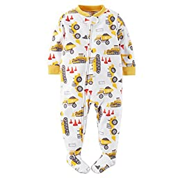 Carters Baby Boys Footed Fleece PJs (2T, Construction Yellow)