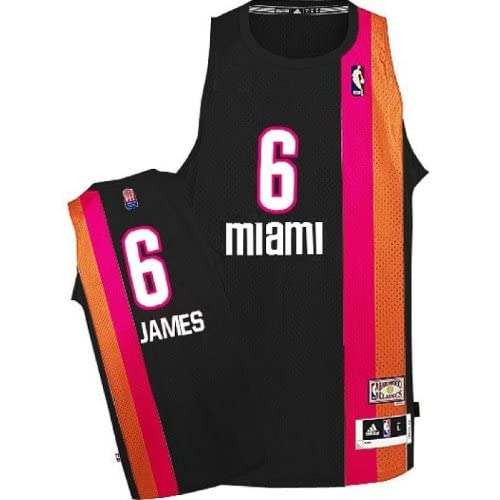 2d471e247 Lebron James NBA Miami Heat #6 Black with Pink/orange Stripe Jersey