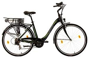 Adore Damen Alu City Pedelec Versailles E-Bike 250 Watt Li-Ion 36V/10,4 Ah 6 Gänge Fahrrad, Schwarz-Grün, 28