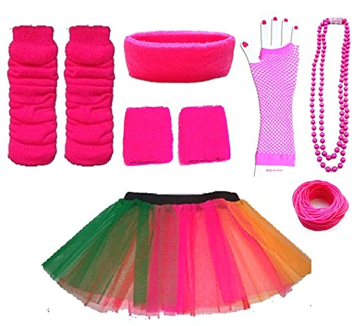 Plus Size Neon Tutu Fun Run 1980s Set. Size 16 to 24