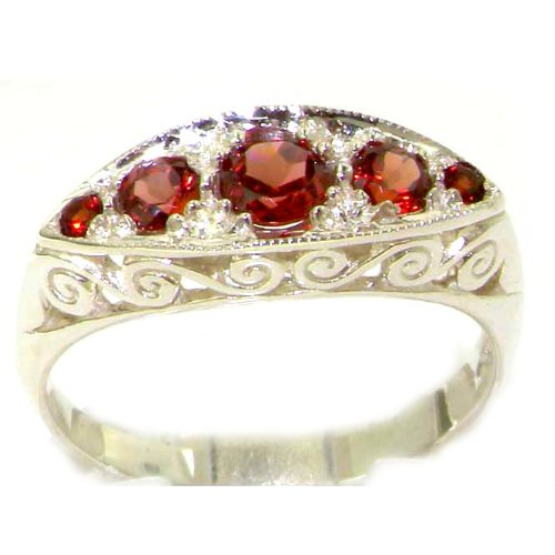Carved Solid English Sterling Silver Natural Garnet Ring - Size 12 - Finger Sizes 5 to 12 Available - Suitable as an Anniversary ring, Engagement ring, Eternity ring, or Promise ring