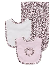 Little Me Baby Girls\' 3 Piece Bib and Burp Set, Leopard, Pink/Multi, One Size