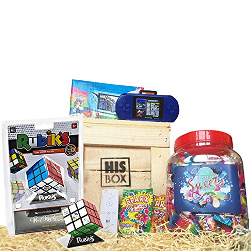 Retro Gamers Gift Crate. There can't be any man who wouldn't be happy to receive this as a present! Includes a handheld Sega Megadrive with 90,000 games, a large tub of retro sweets, popping candy and a rubiks cube. Oh, and it all comes in a big, manly crate!